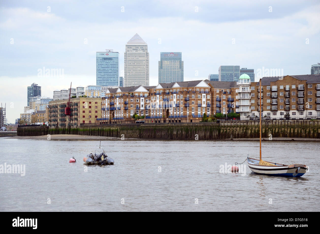 View towards Canary Wharf and London Docklands from Shadwell, London Stock Photo