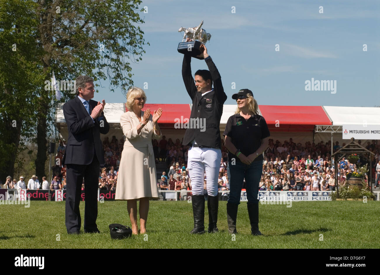 Badminton Horse Trials Jonathan Jock  Paget collect trophy from the Duchess of Cornwall May 2013. HOMER SYKES - Stock Image