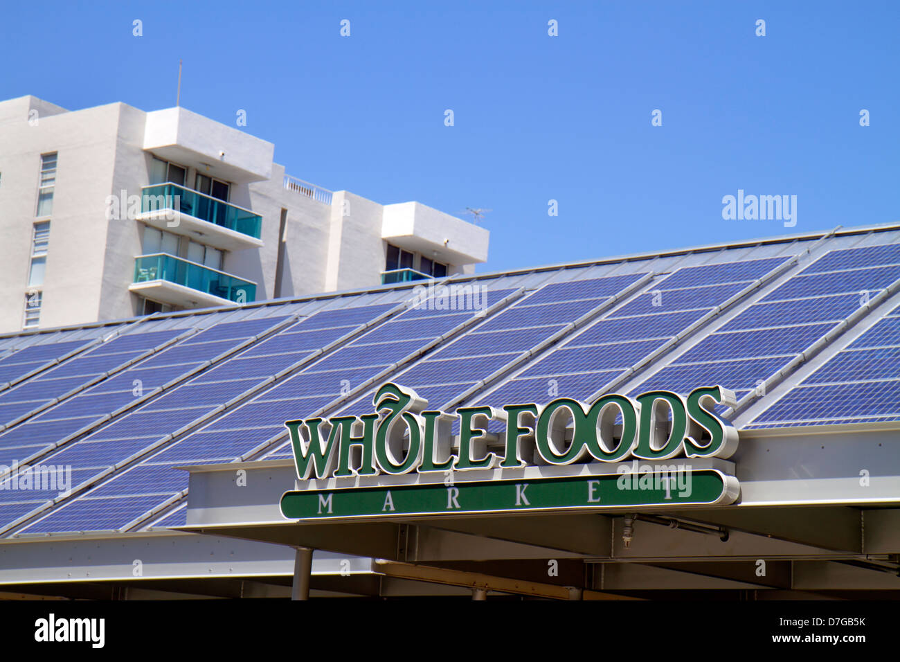 Miami Beach Florida Alton Road Whole Foods Market grocery store supermarket solar panels roof rooftop generating - Stock Image