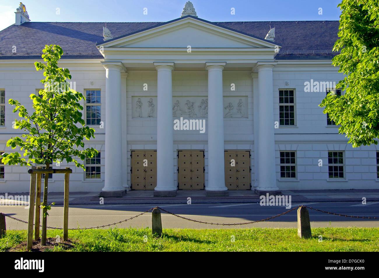 Germany, Mecklenburg-West Pomerania, island Rügen, Putbus, column portico, theatre - Stock Image