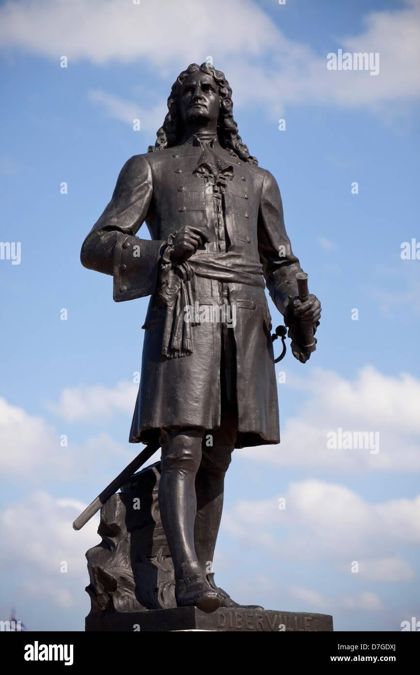 statue of Pierre Le Moyne d'Iberville in Havana, Cuba, Caribbean Stock Photo