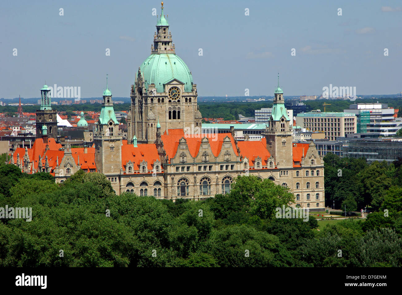 Germany, Lower Saxony, Hannover from above, new city hall - Stock Image