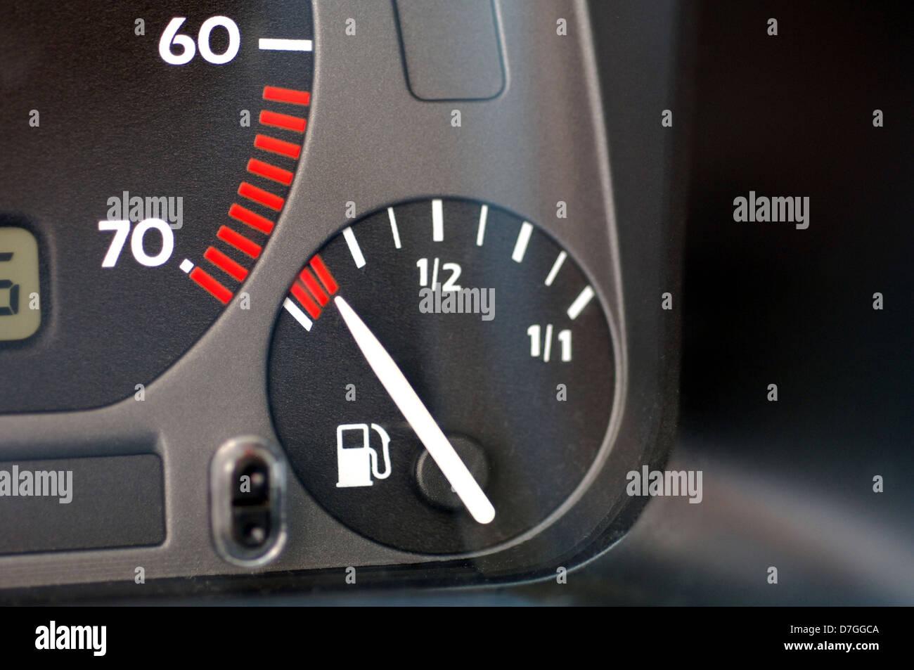 Car, instruments, announcement, speedometer, petrol gauge, gasoline level - Stock Image