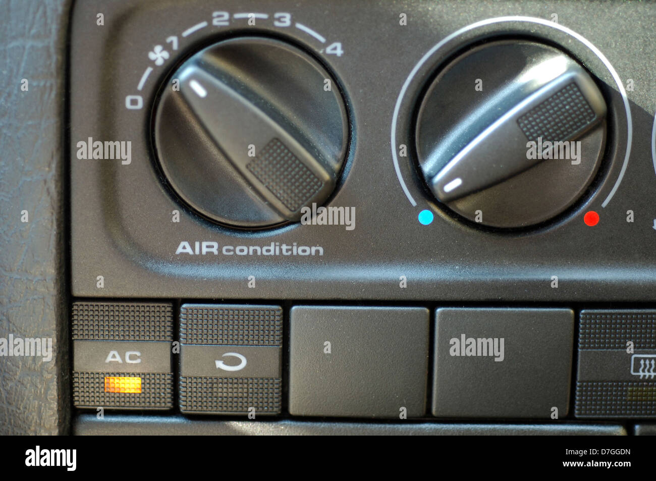 Car, instruments, announcement, air-conditioning switched on - Stock Image