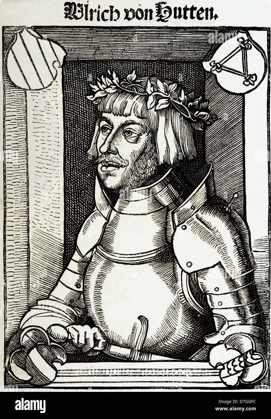 Ulrich von Hutten (1488-1523). German writer and theologian. Engraving. Stock Photo