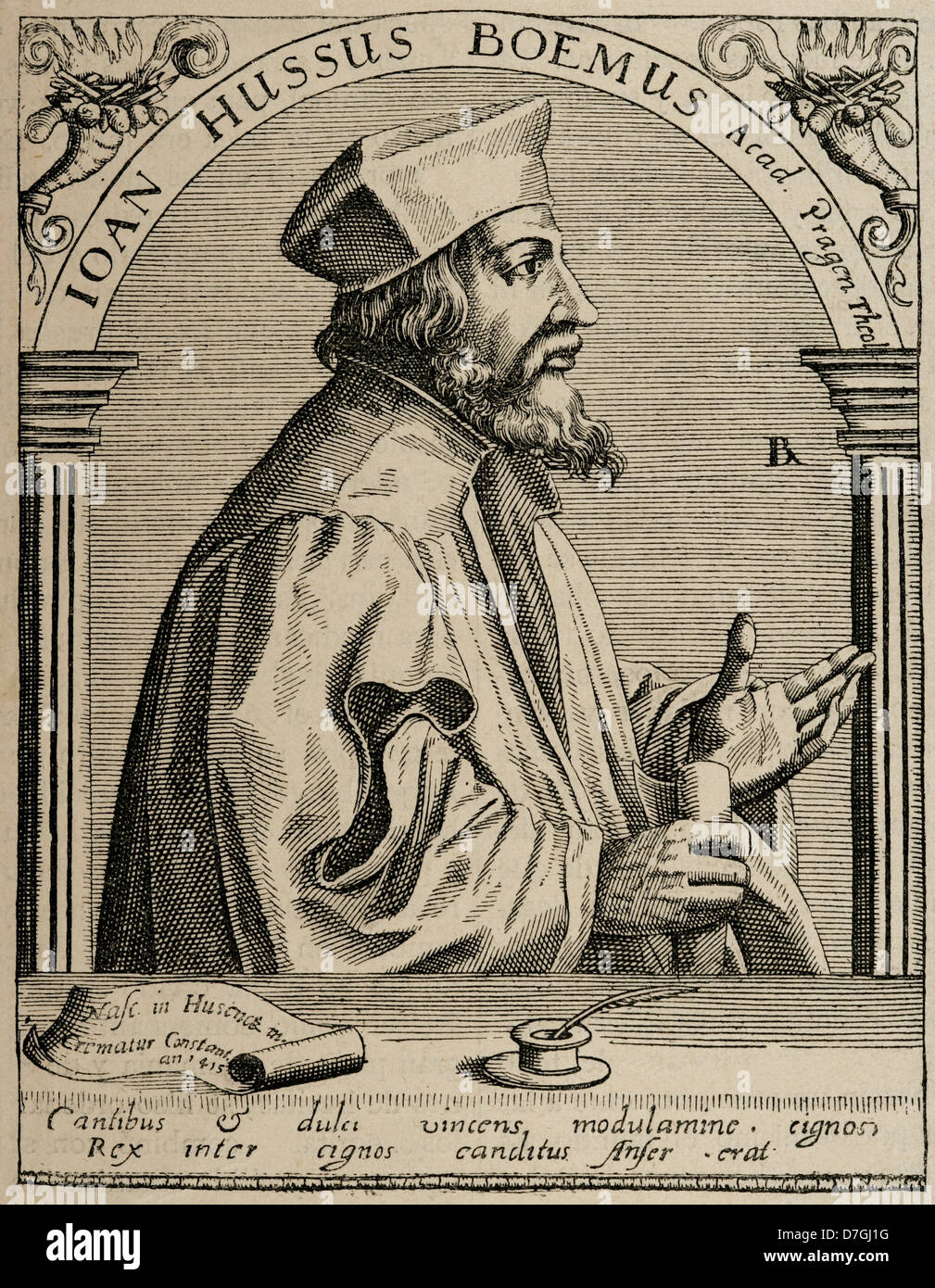 Jan Hus (1369-1415). Czech priest, philosopher and reformer. Engraving. - Stock Image