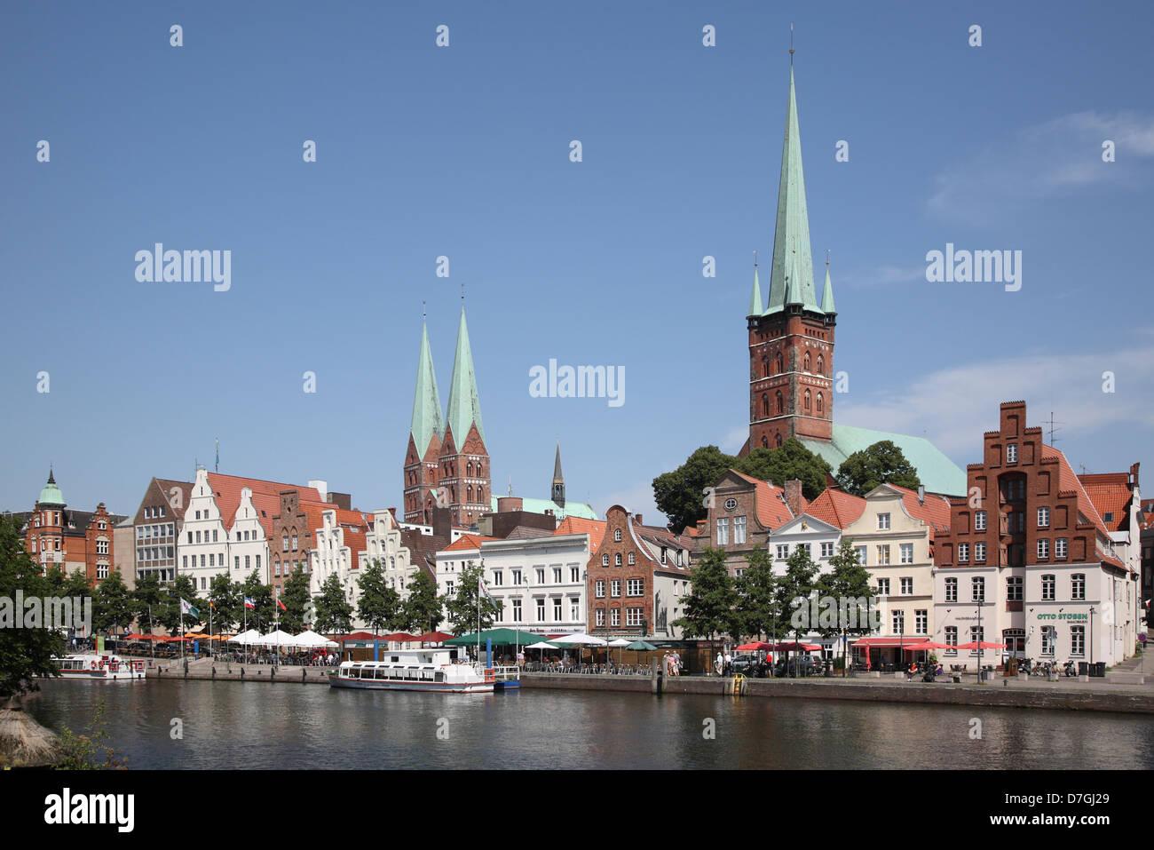 Lübeck Schleswig Holstein Trave River - Stock Image