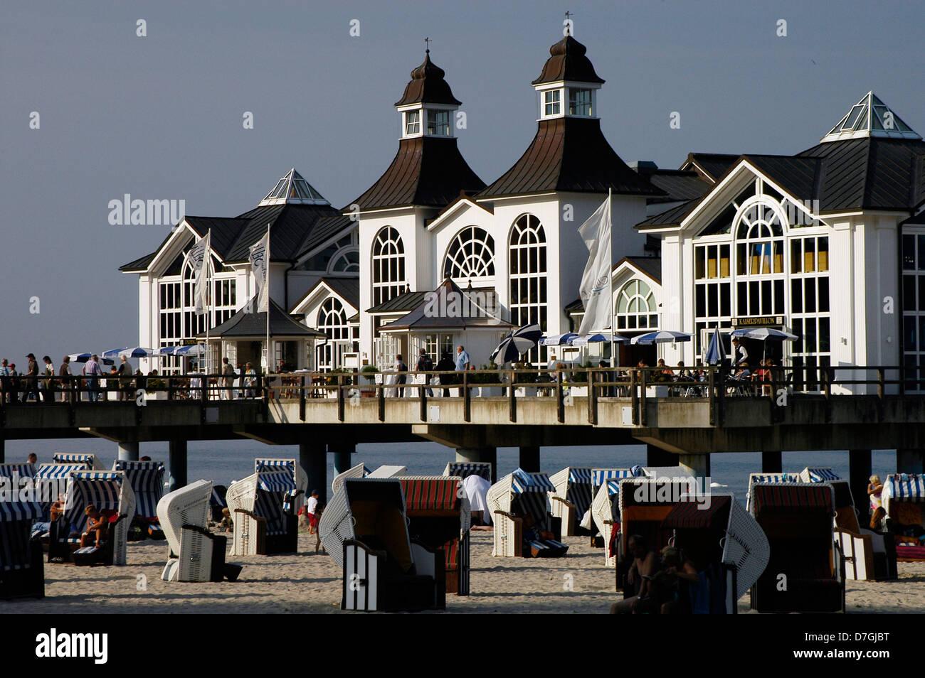Island of Rügen, Sellin, sea bridge, Ruegen, Seebrücke, Germany, Baltic Sea - Stock Image