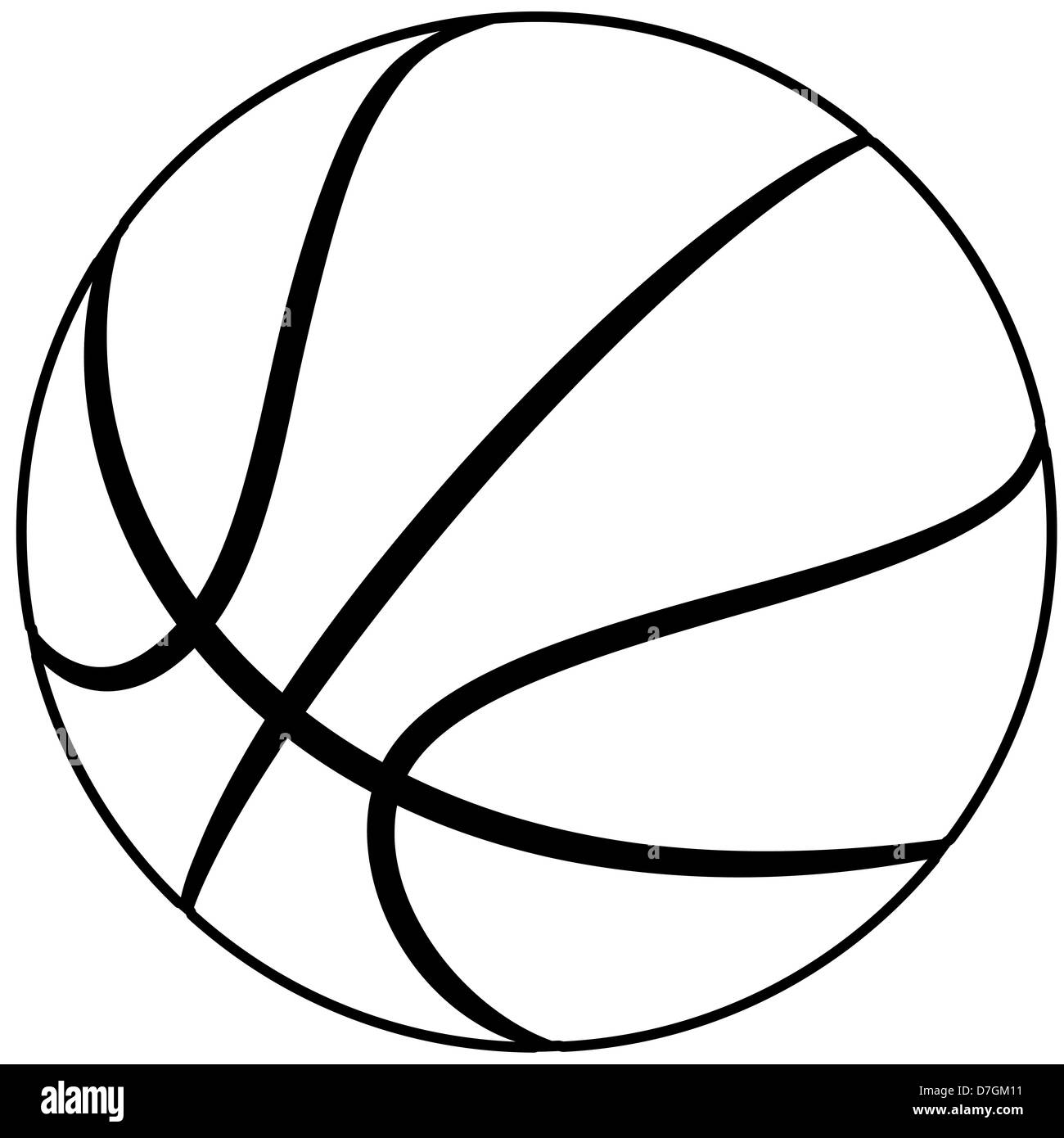 illustration of a basketball outline isolated in white background. - Stock Image