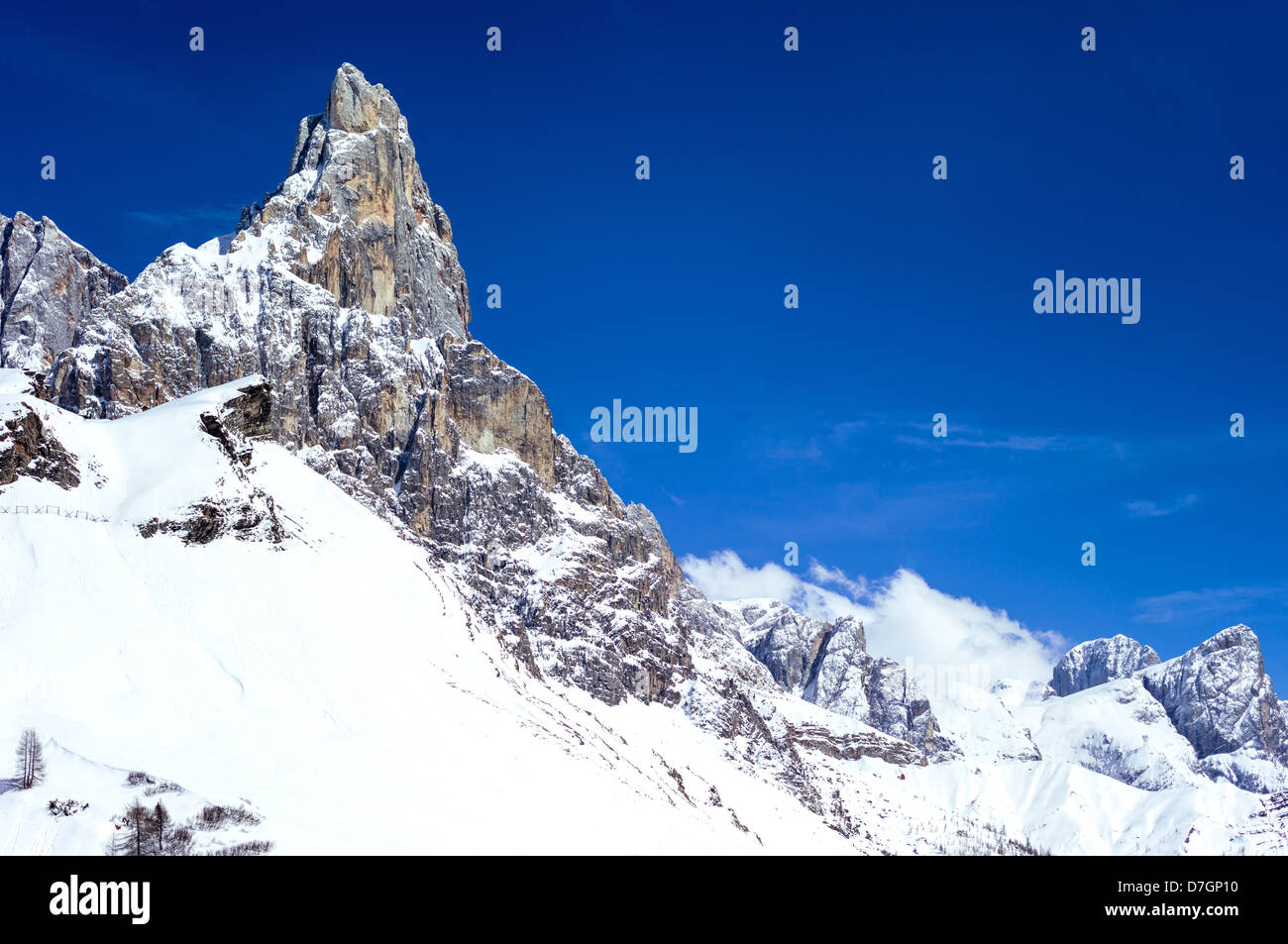 Italy Dolomites Trentino Alto Adige the Pale di San Martino mountain seen from the Rolle Pass Stock Photo