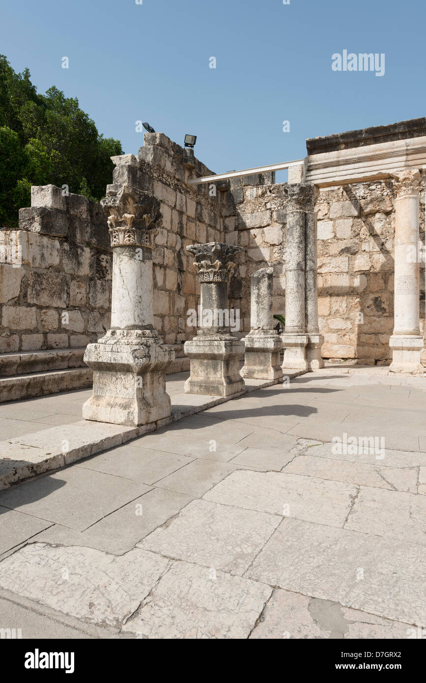 The Synagogue in Capernaum viewed from the entrance Stock Photo