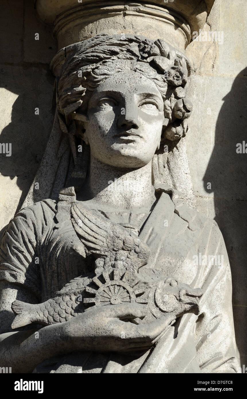 Art Nouveau Sculpture of Woman Caryatid Holding a Fish La Canebière Marseille France - Stock Image