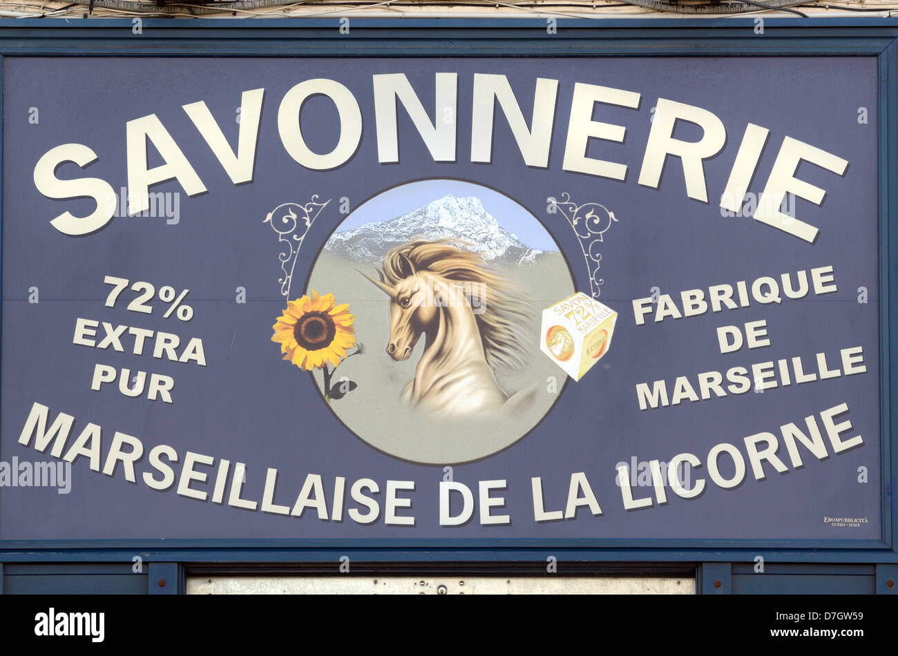 Marseille Soap Shop Sign Marseille France - Stock Image