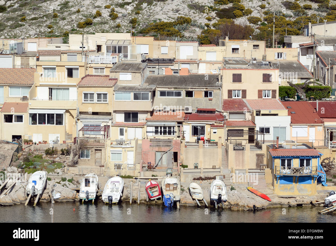 Fishermen's Houses at Les Goudes Marseille France Stock Photo