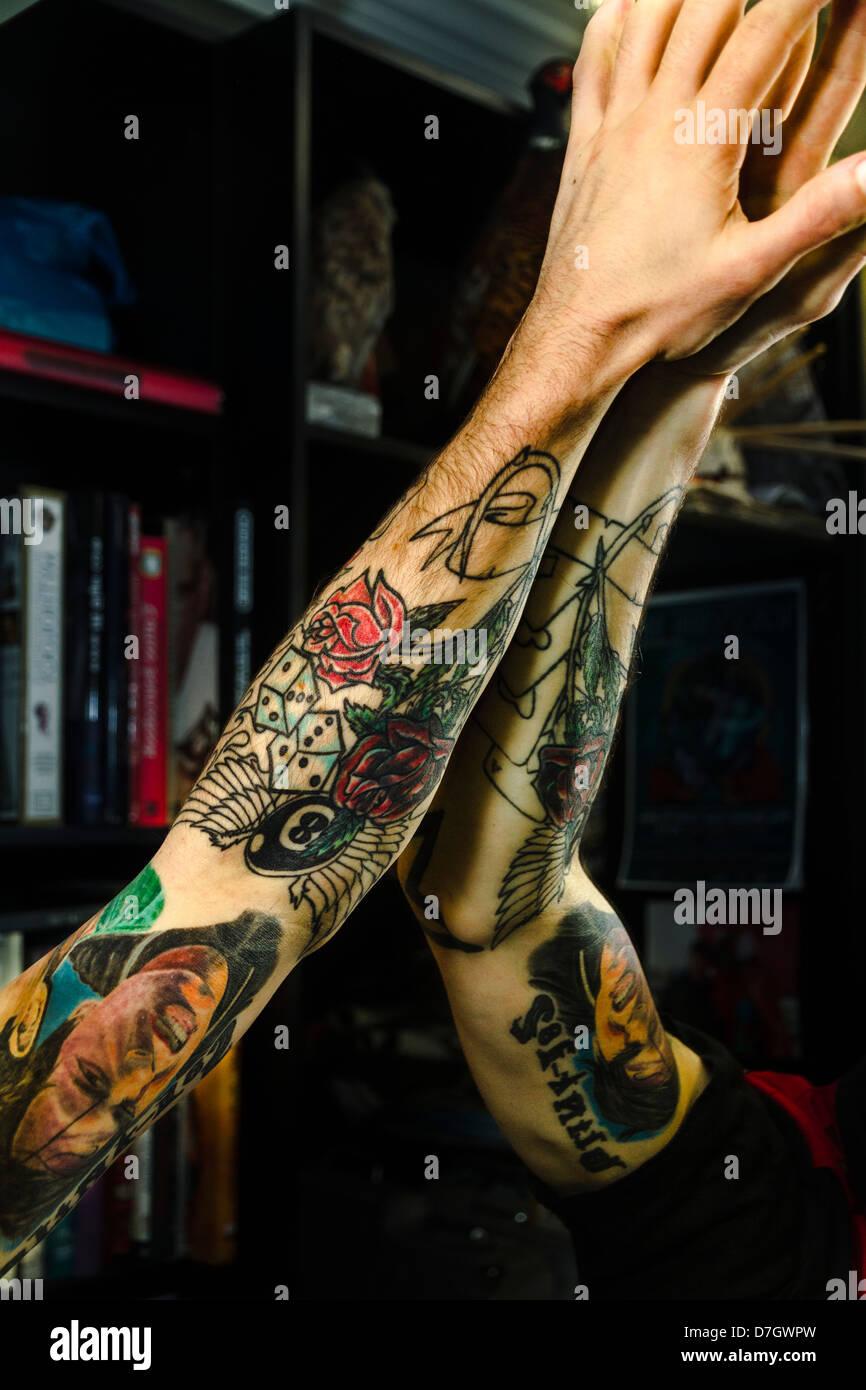 Tattoos created by award winning tattooist Dualta 'Duke' Kellegher. - Stock Image