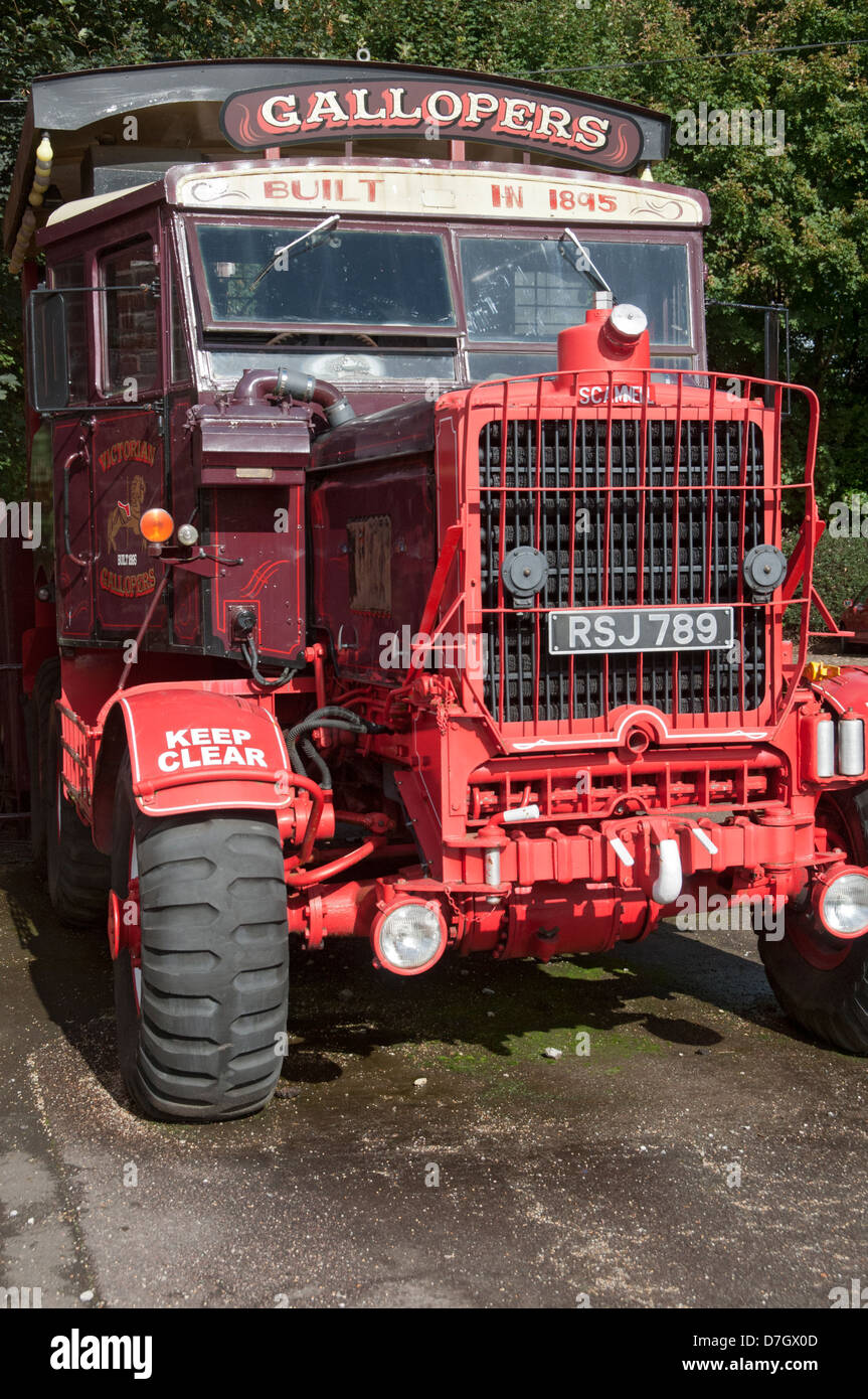 1955 Scammell truck housing a generator for a Victorian fairground ride, Tatton Park, Knutsford, Cheshire, England, Stock Photo