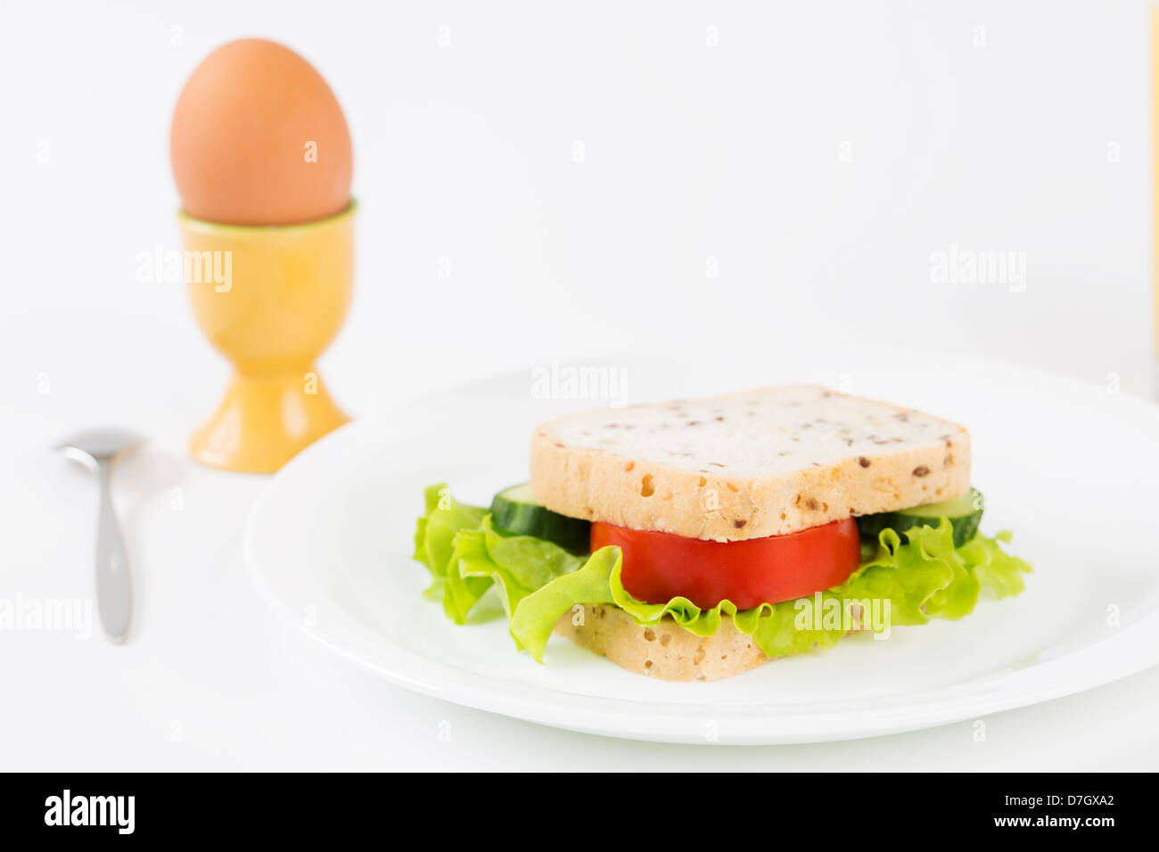 Lovely sandwich with vegetables will satisfy hungry stomach - Stock Image