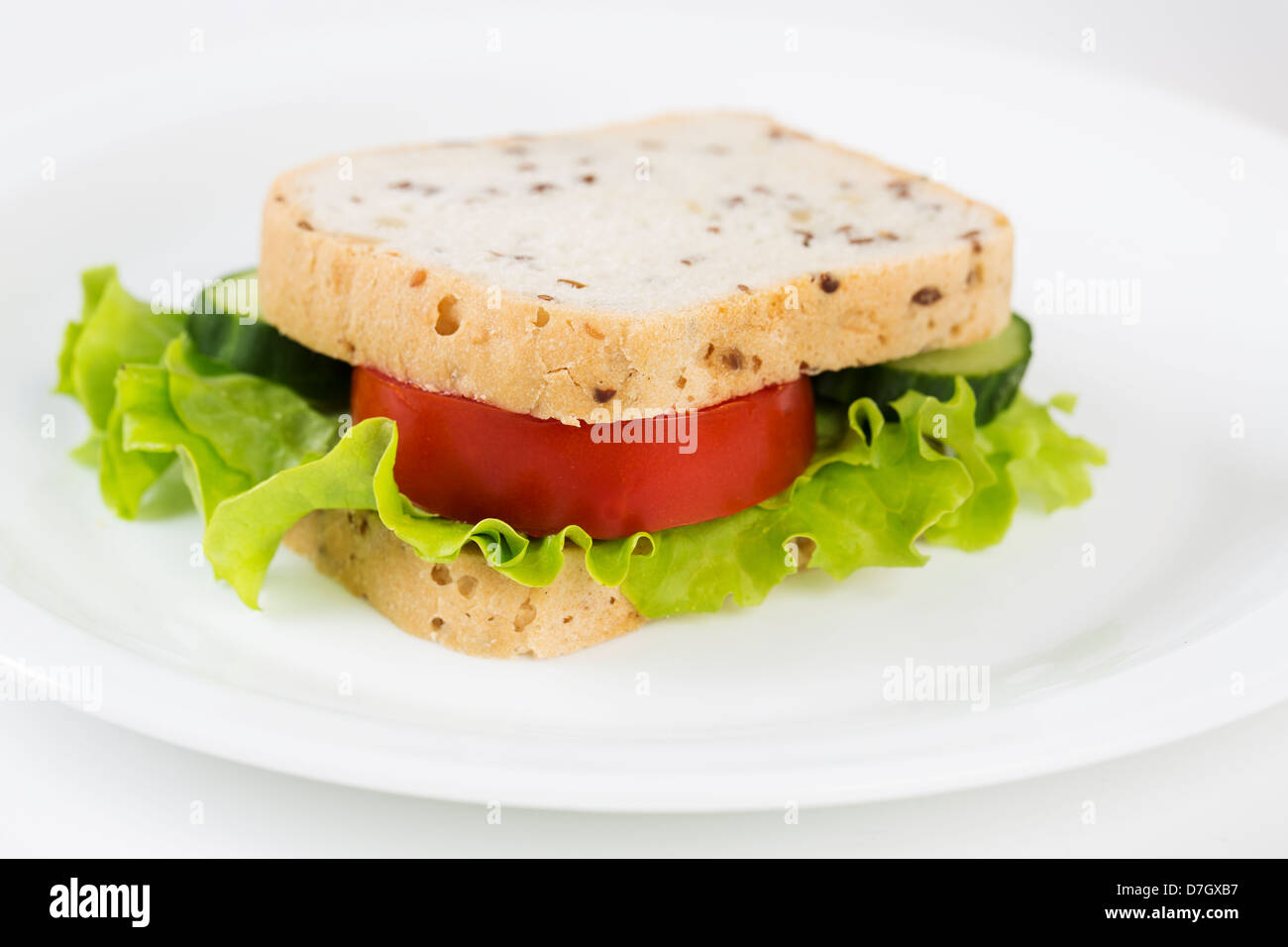 Zoomed sandwich with vegetables will satisfy hungry stomach - Stock Image