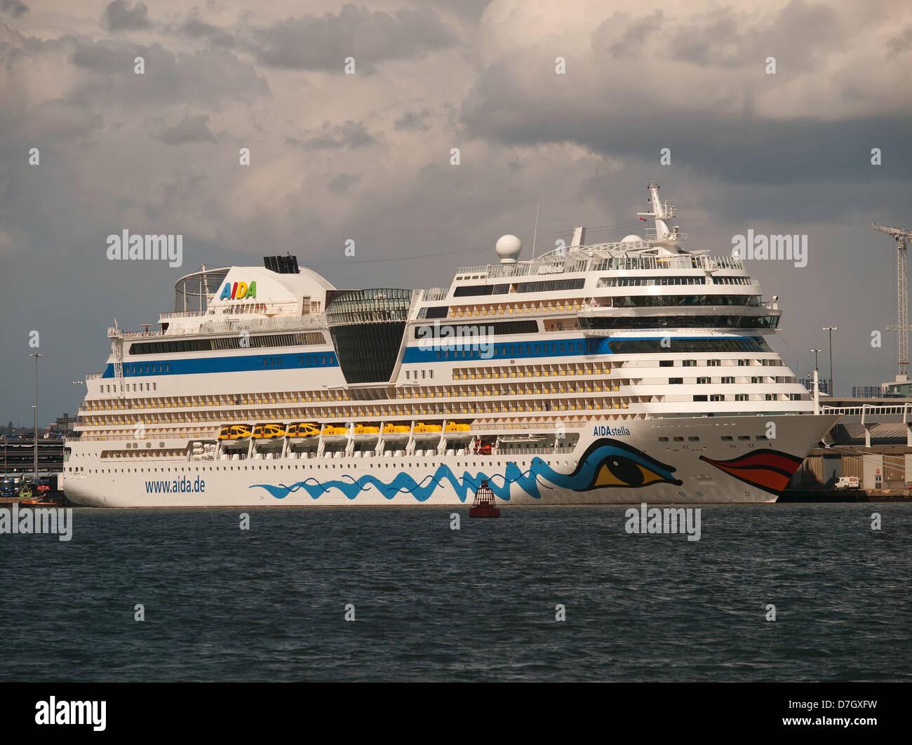 Cruise ship AIDAstella berthed in Southampton Port Hampshire England UK - Stock Image