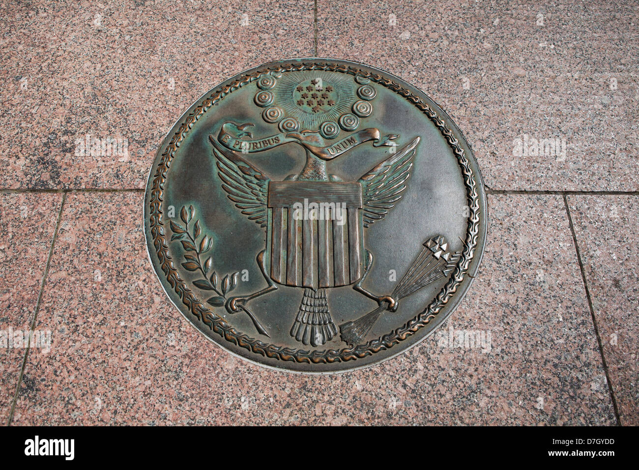 Obverse view of The great seal of the United States, 1782 design, Freedom Plaza, Washington DC - Stock Image