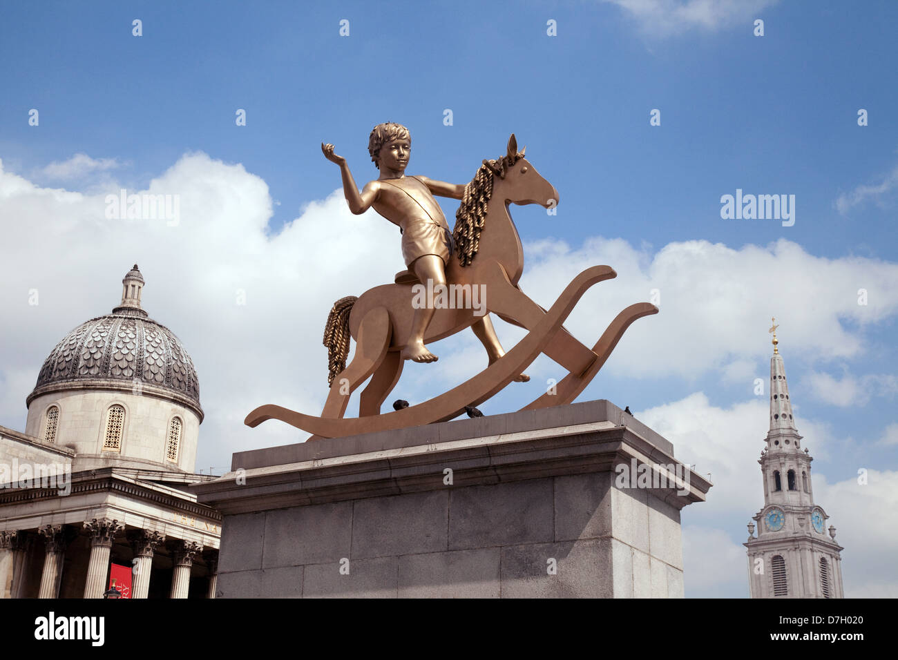 Powerless Structures - a bronze statue of a boy on a rocking horse, on the Fourth Plinth, Trafalgar Square London - Stock Image