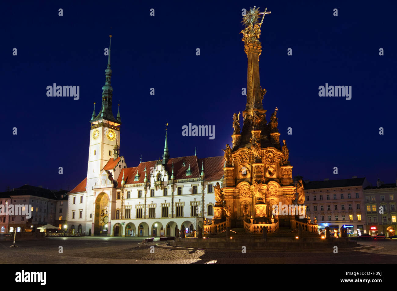 Holy Trinity Column and Town Hall at night. Olomouc, Moravia, Czech Republic - Stock Image