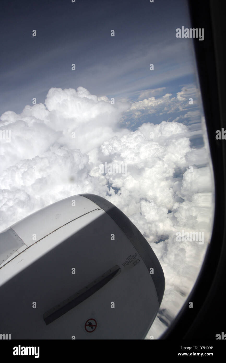 View from the airplane window above Northern Thailand - Stock Image