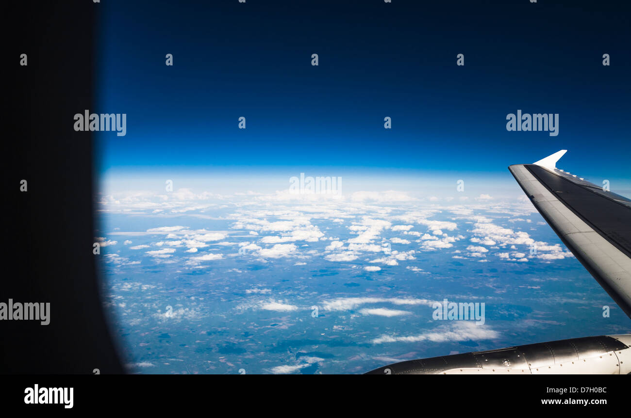 view from the airplane window above Northern Finland Lapland - Stock Image