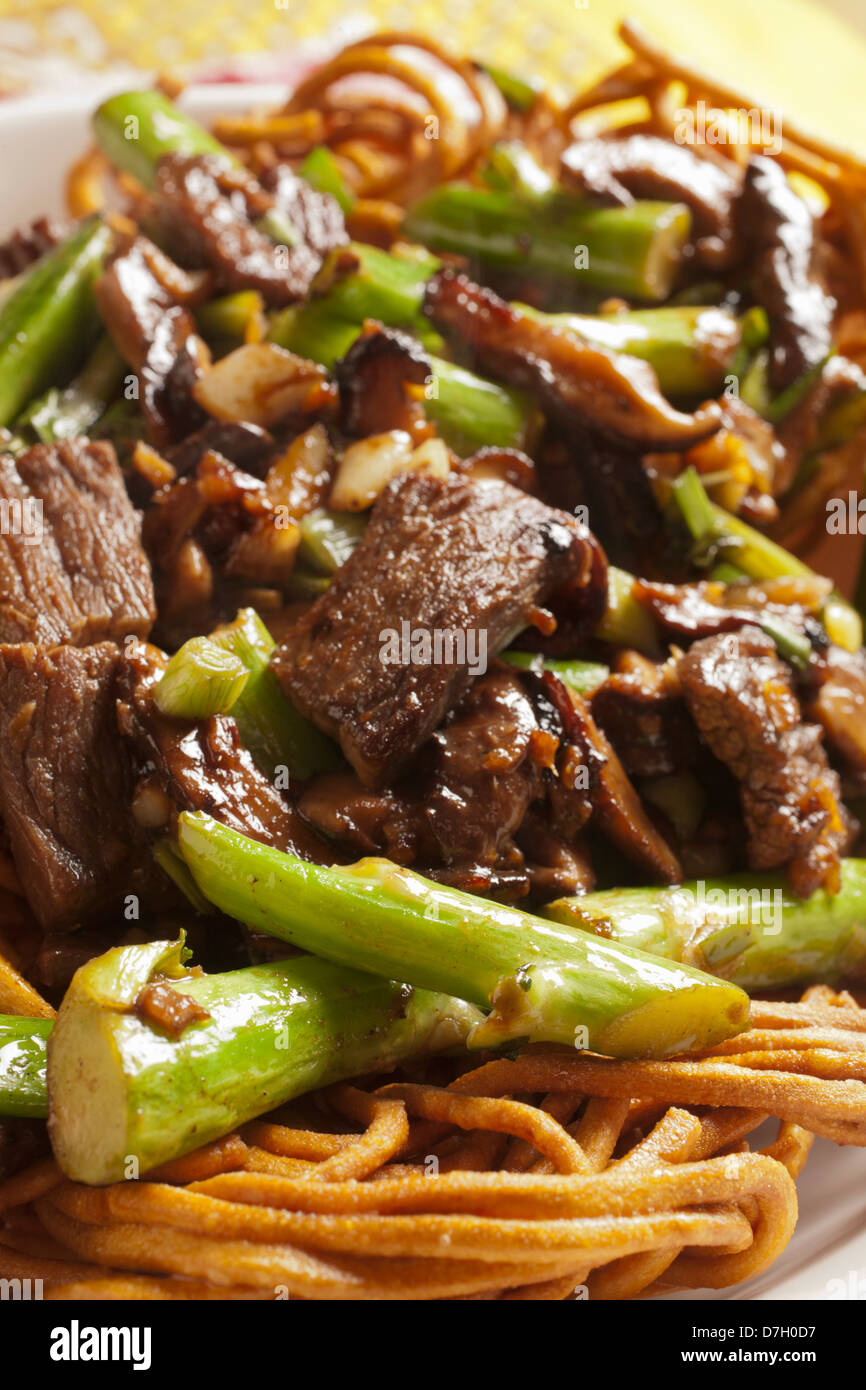 Cantonese Style Beef Chow Mein - Stock Image