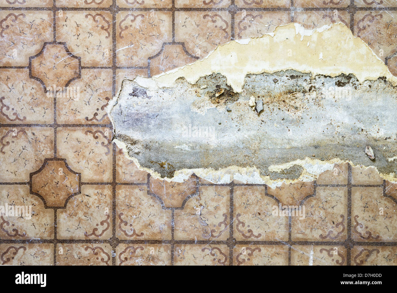 ripped and damaged linoleum floor over concrete Stock Photo