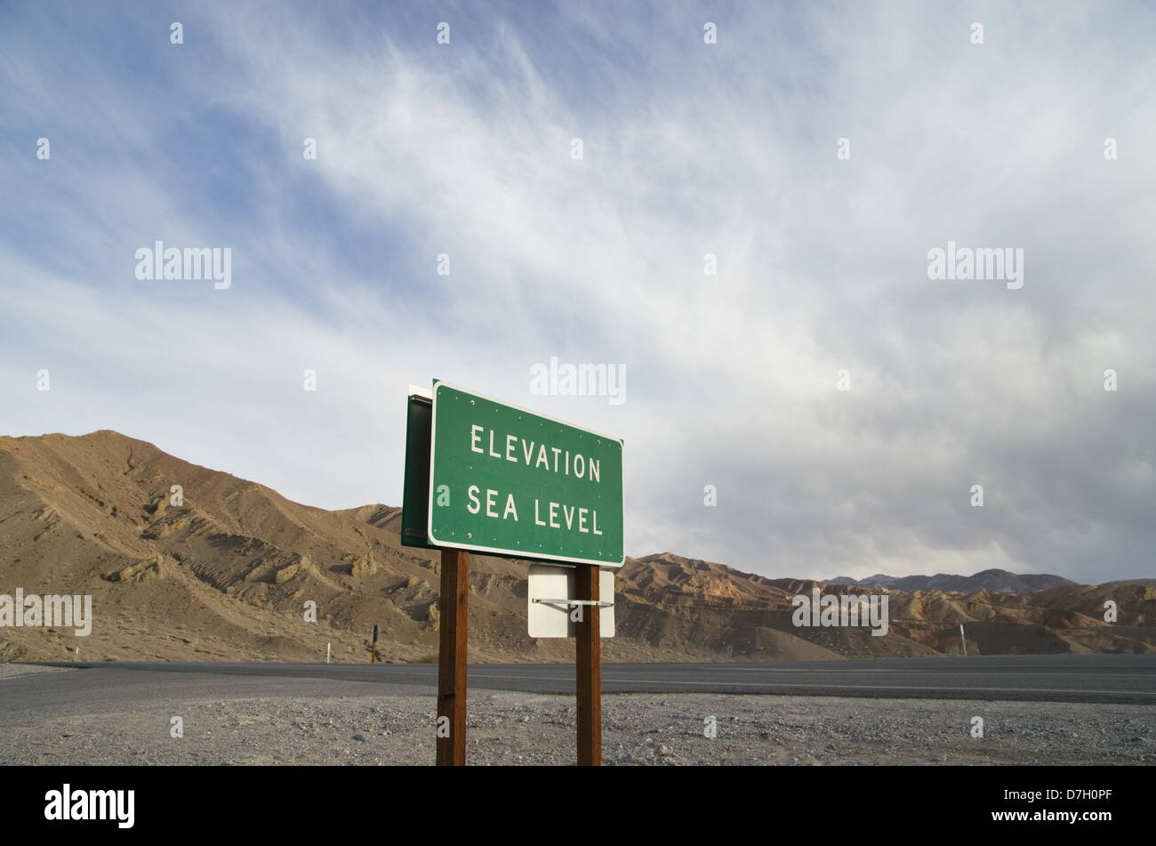 elevation sea level sign in Death Valley National Park - Stock Image