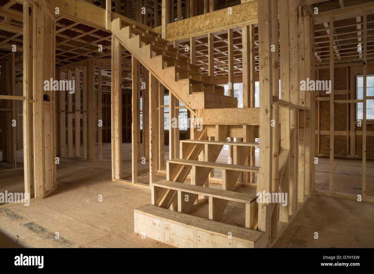 New House Construction Interior With Exposed Framing And Stairs   Stock  Image