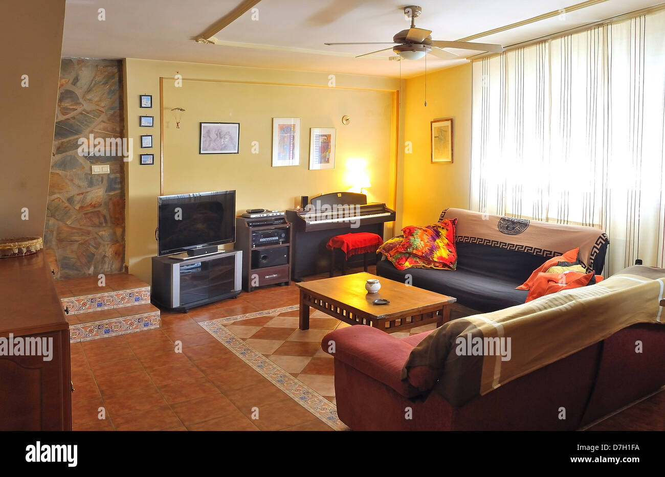 Rustic Living Room With Tv Piano And Home Theater Stock Photo Alamy
