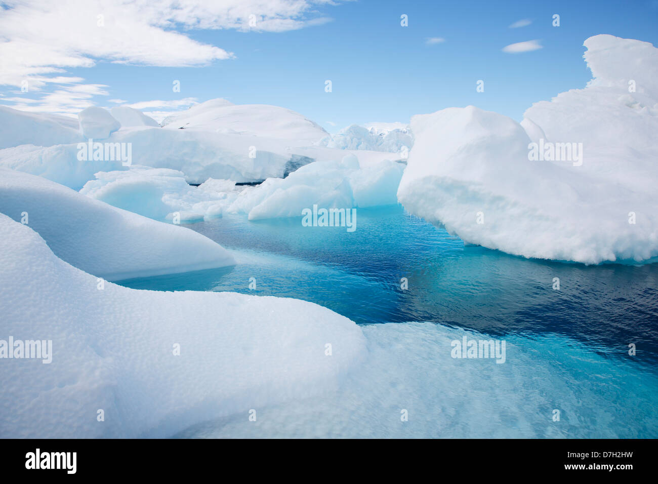 Snow and ice on Detaille Island, South of the Antarctic Circle, Antarctica. - Stock Image