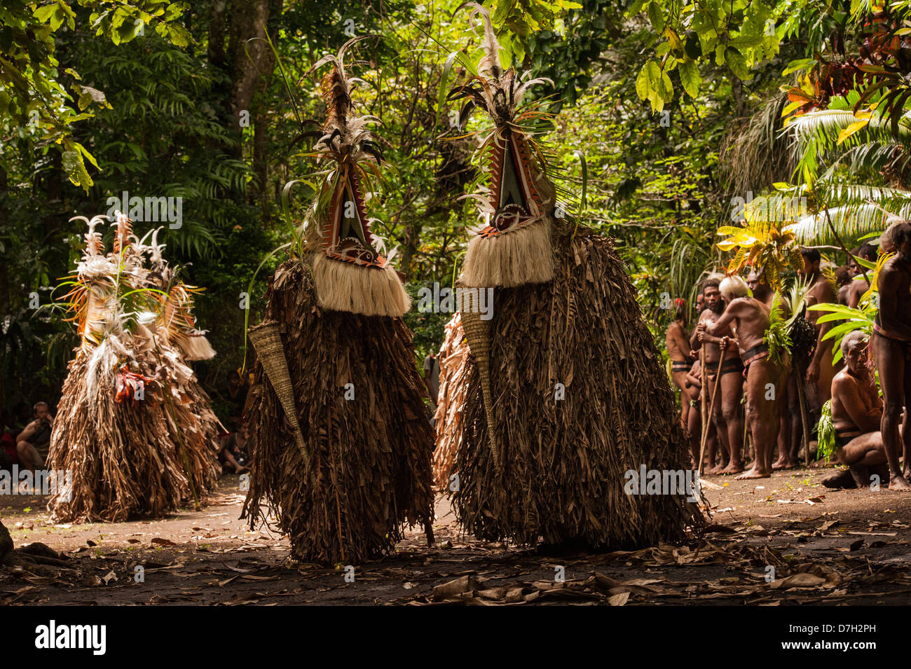 Rom Dancers on the last day of Ambrym's annual Back to My Roots festival of traditional culture, Vanuatu Stock Photo