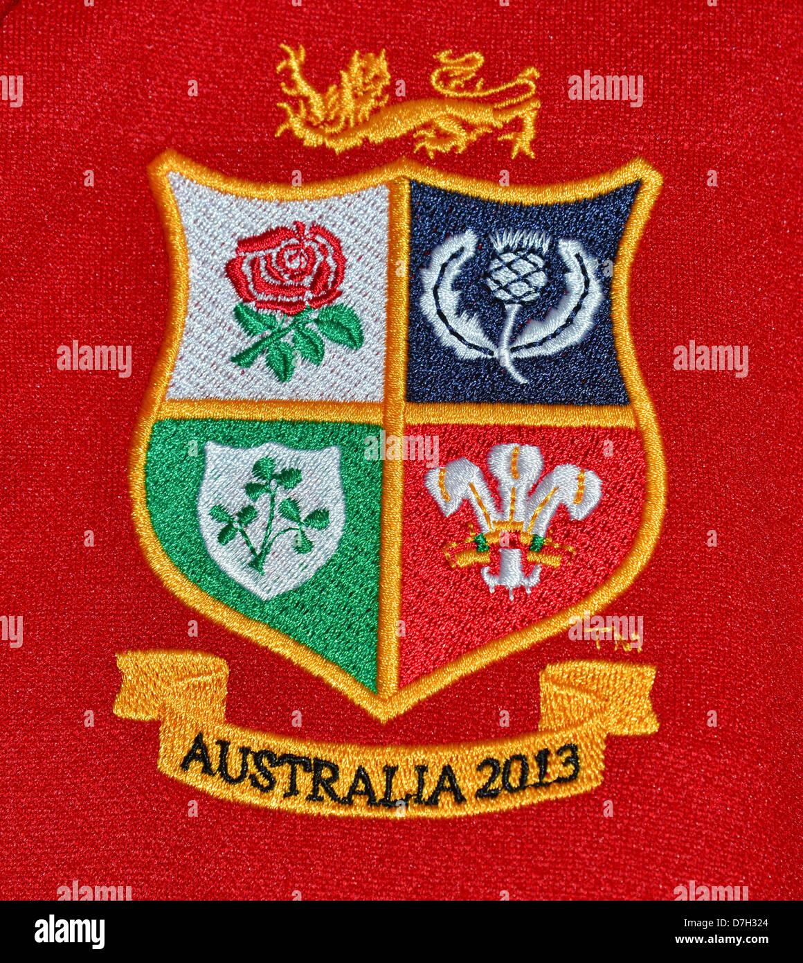 Australia 2013 British & Irish Lions rugby shirt logo, Surrey, England, United Kingdom - Stock Image