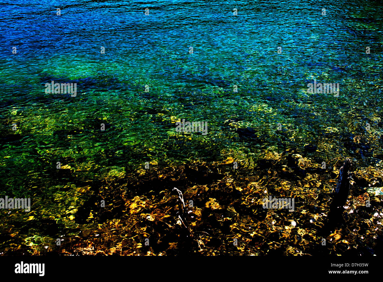 Shiny colour water reflections - Stock Image