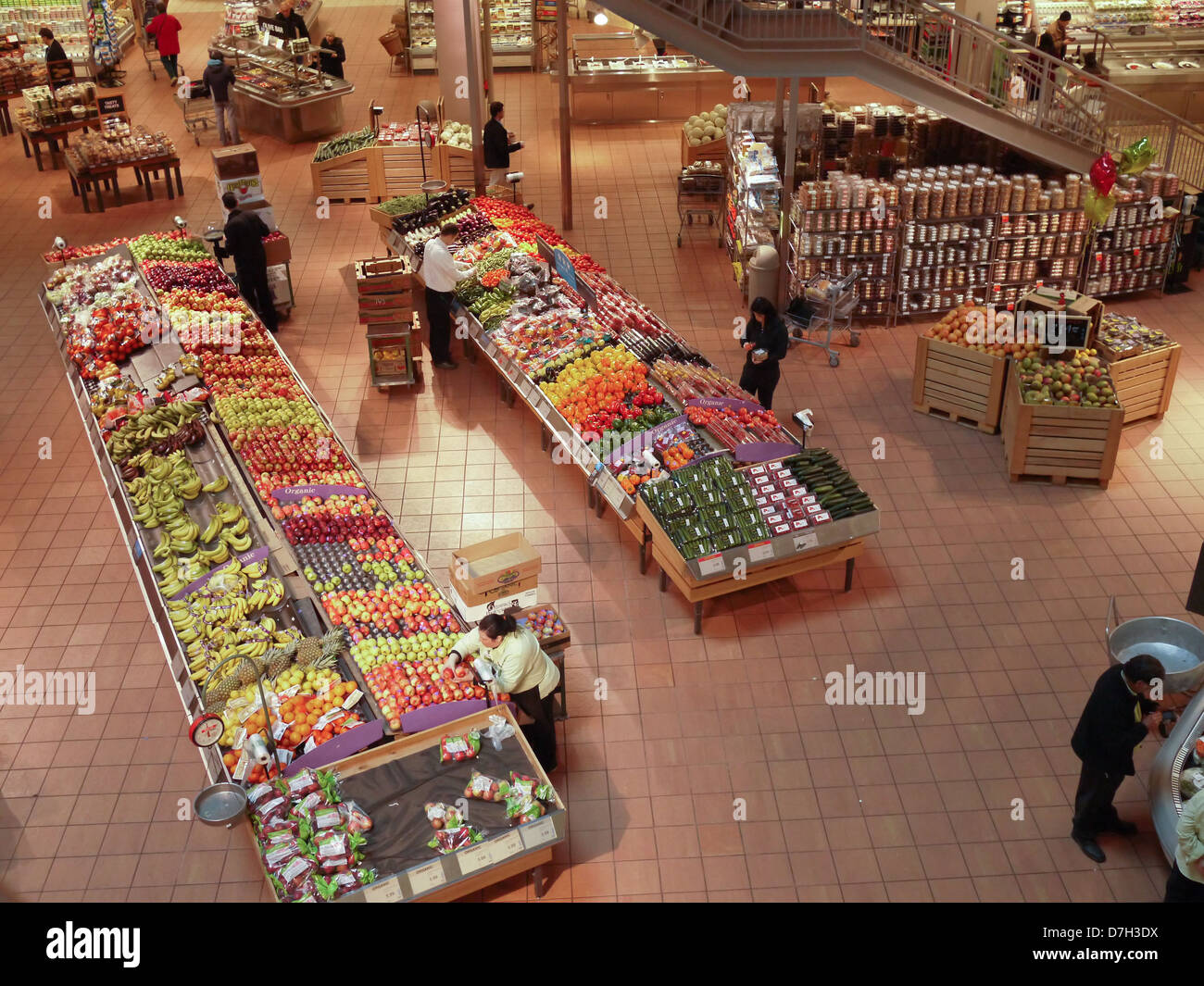 supermarket grocery store fruit stall - Stock Image