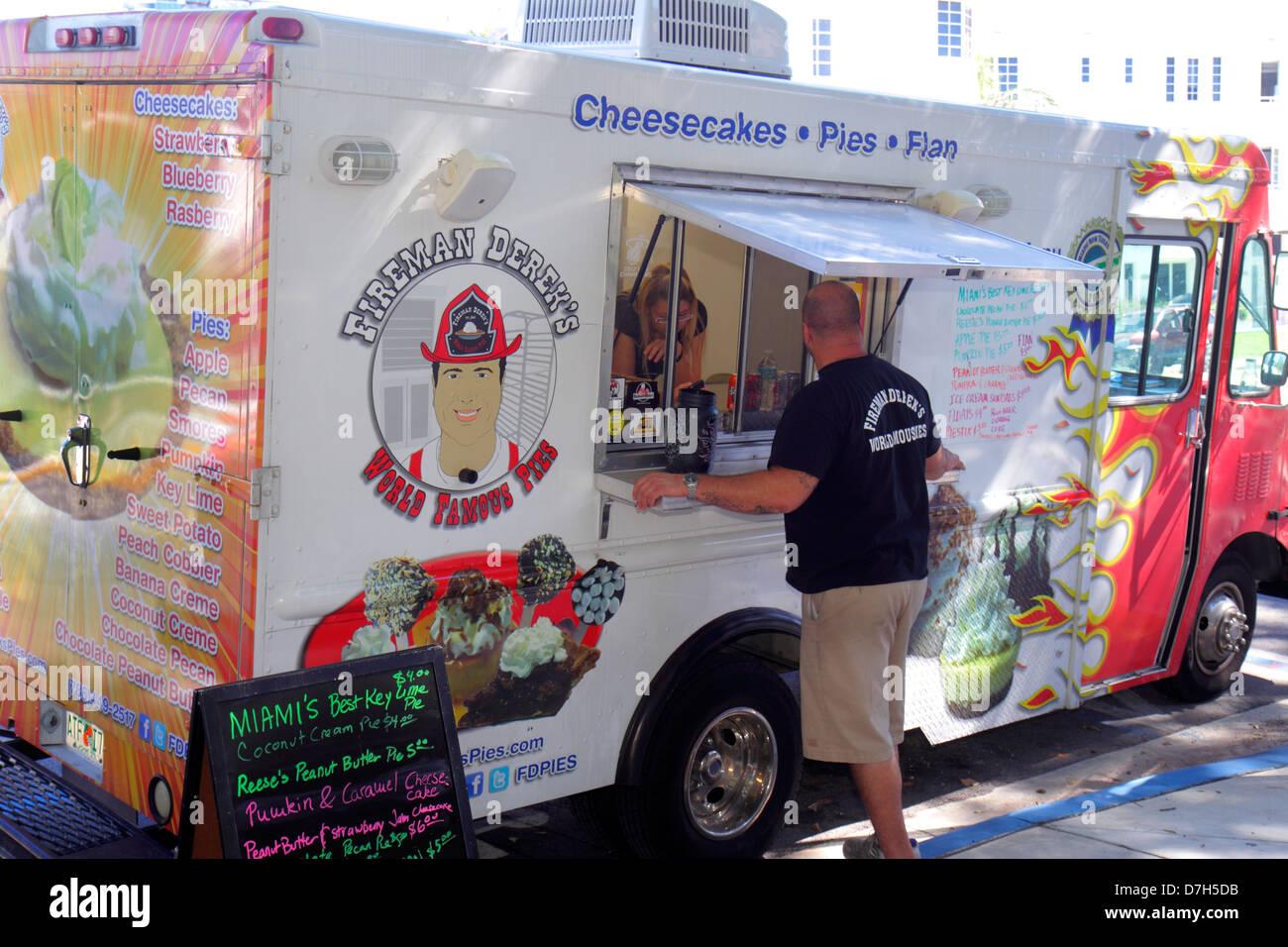 Miami Beach Florida Food Truck Caterer Mobile Van Business Man Stock