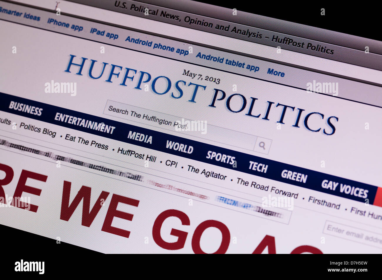 Huffington Post Politics website on screen - Stock Image