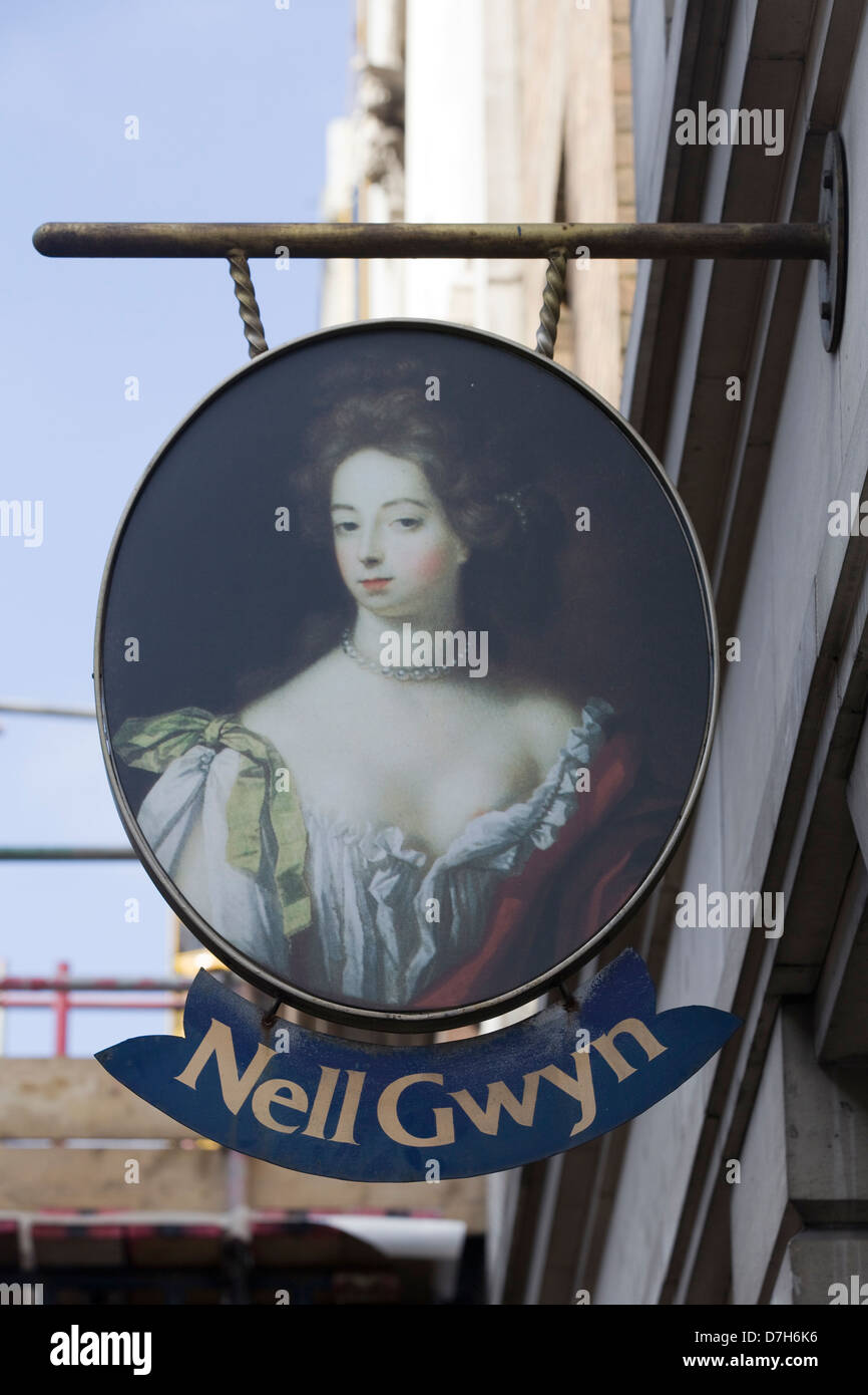 Nell Gwyn Public House Sign in London England - Stock Image