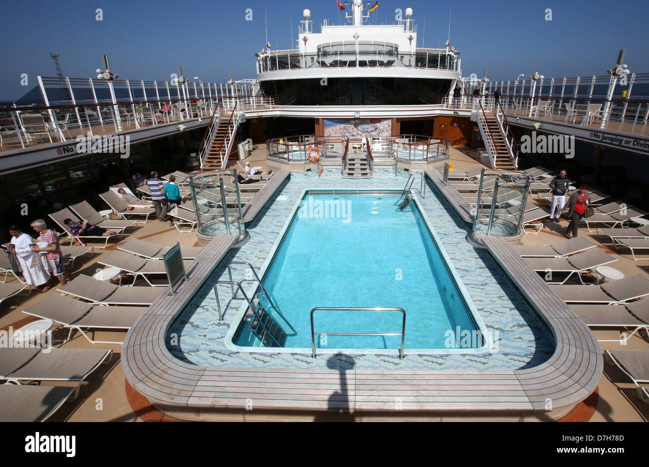 The Sun Deck Of The Luxury Liner Queen Elizabeth Operated By The Stock Photo 56312605 Alamy