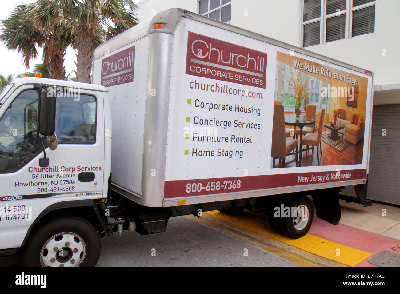 Miami Beach Florida truck lorry corporate services advertising business - Stock Image