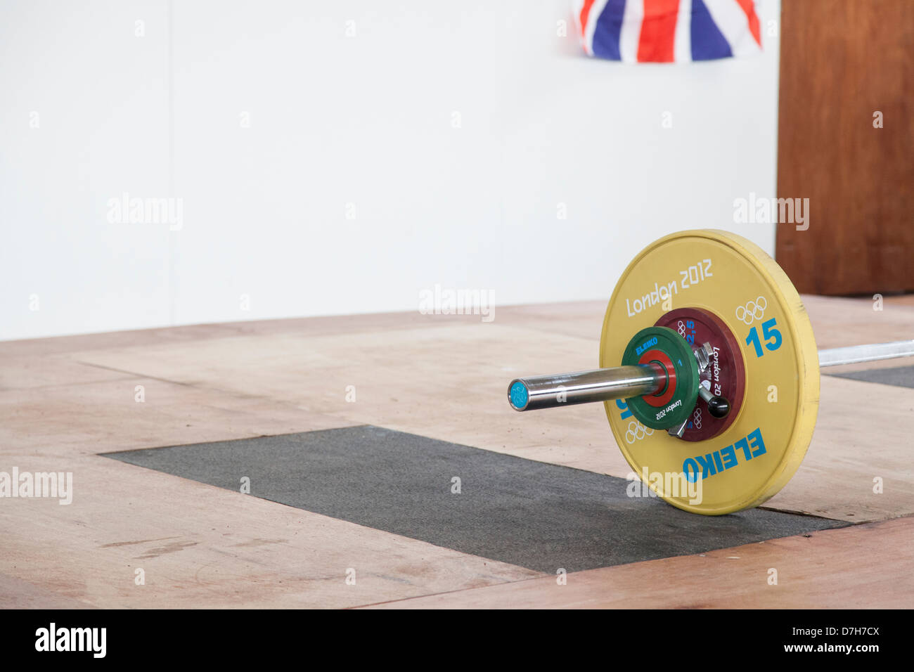Olympic weight with GB Flag in corner. Olympic weightlifting - Stock Image