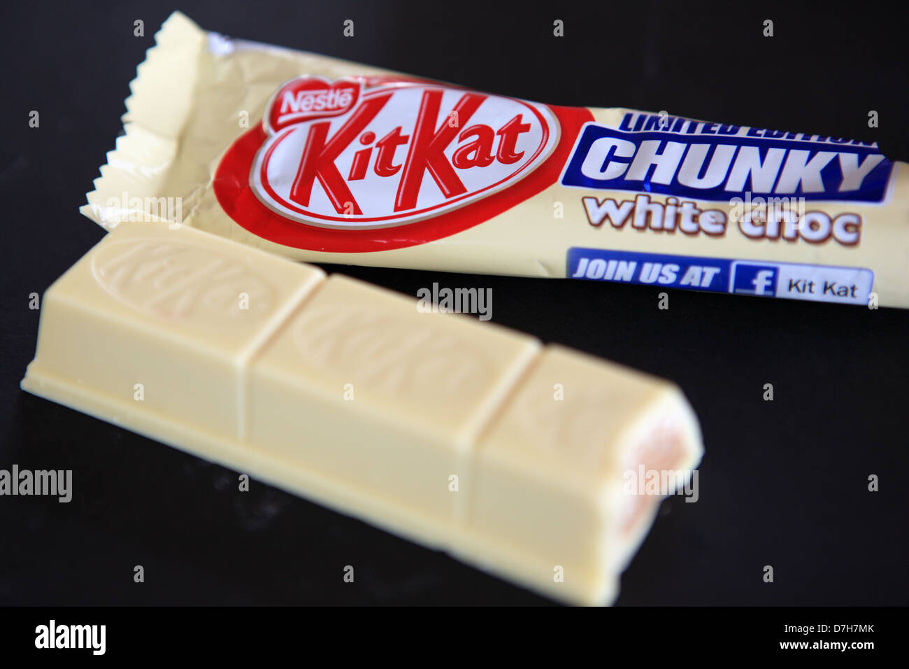 Kitkat - Limited edition chunky white chocolate biscuit bar with a bite out of it - Stock Image