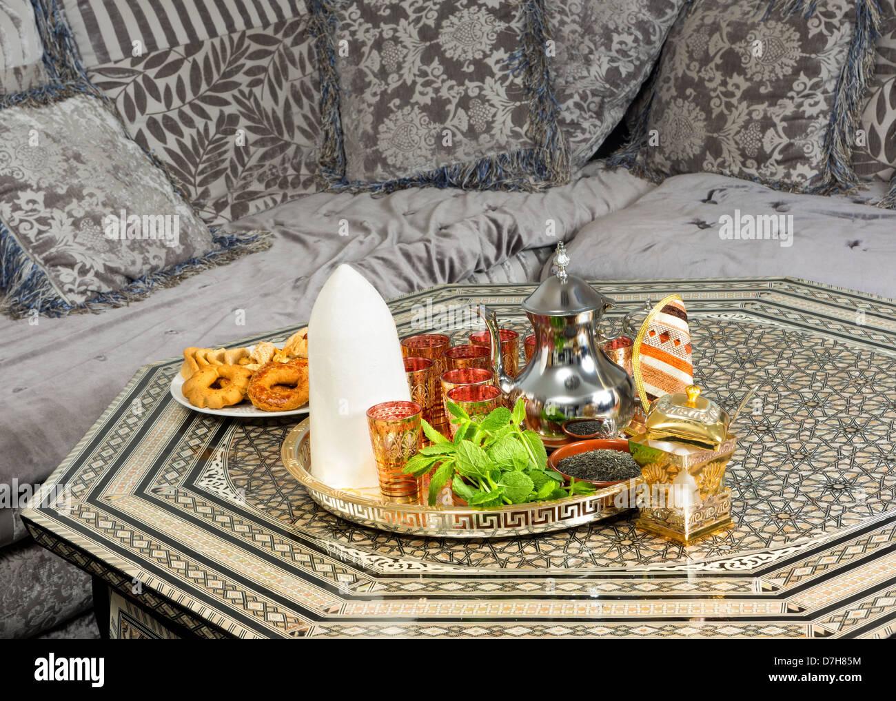 Traditional Sugar Cone And Ramadan Pastry On Moroccan Tea Table