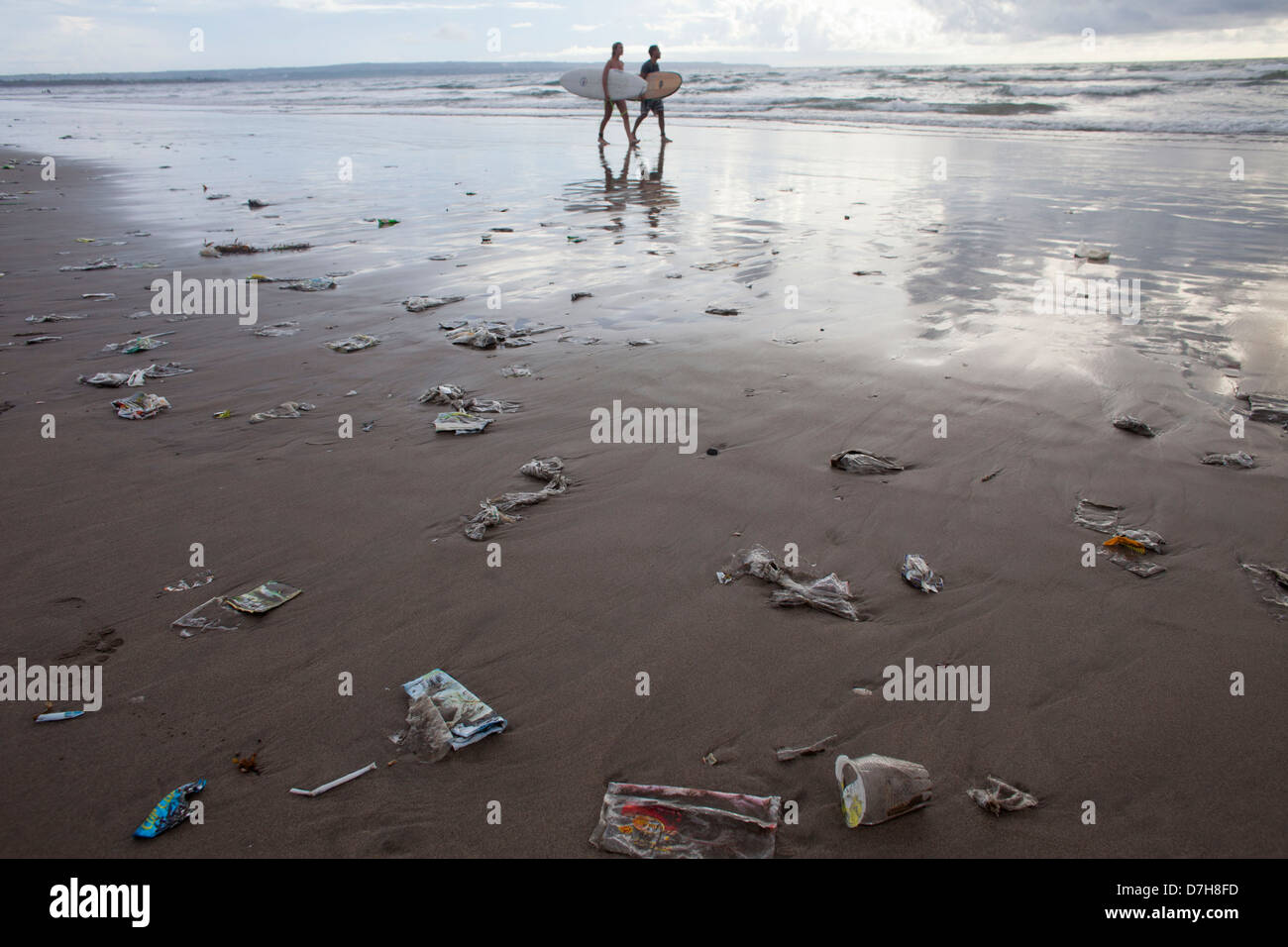 plastic garbage at the shore of Bali. - Stock Image