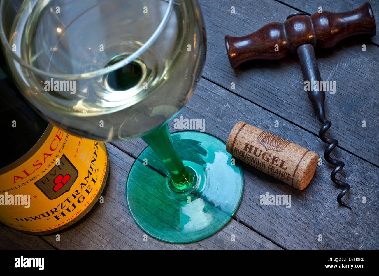 Gewurztraminer white wine bottle glass and cork in wine tasting situation of renowned producer 'Hugel'  Riquewihr Stock Photo