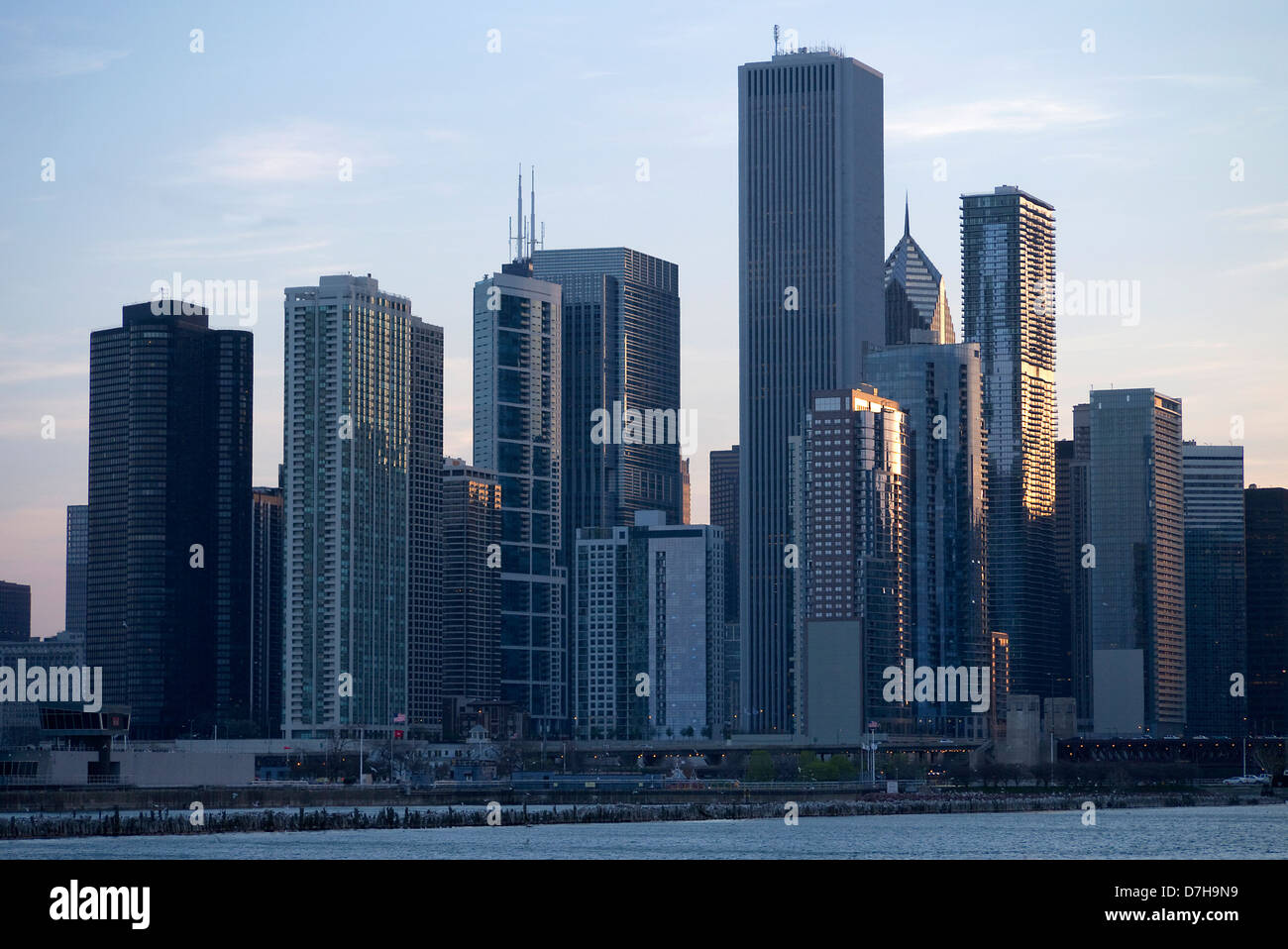 Chicago skyline from Navy Pier - Stock Image