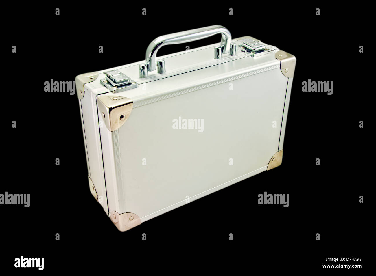 silver suitcase - Stock Image